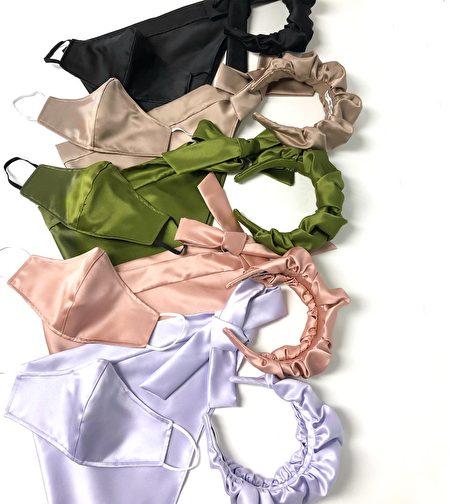 同色系的缎面发箍与口罩。
