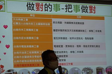 為提供修繕志工午餐,於是把台南市餐飲業產業工會也納入。