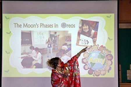 外師Amy介紹用巧克力餅乾Oreo作的月亮圓缺階段。
