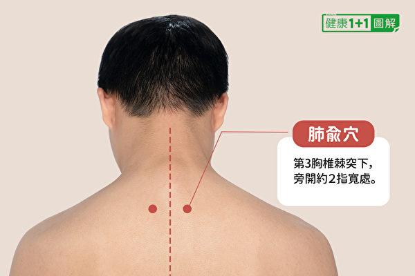 肺俞穴位於第3胸椎棘突下,旁開約2指寬處。(健康1+1/大紀元)