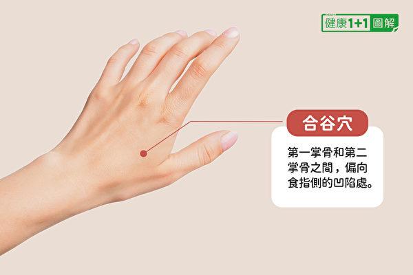 合谷穴位於第一掌骨和第二掌骨之間,偏向食指側的凹陷處。(健康1+1/大紀元)