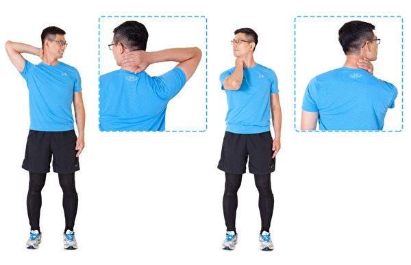 頸部按摩第二組動作。(鄭雲龍提供/大紀元合成)