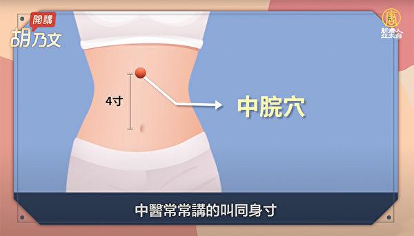 缓解胃痛的穴位:中脘穴。(胡乃文开讲提供)