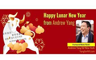 纽约市长参选人杨安泽向华人社区拜年