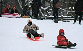 组图:中央公园积雪超17吋 纽约客滑雪乐