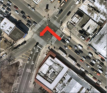 图七)放案缺点:在65街交七大道增加左转情况,而在左转弯时最容易发生危险,同时需要增加红绿灯时间,给予北向车通过路口的时间变短,造成极大不便和更大拥堵。