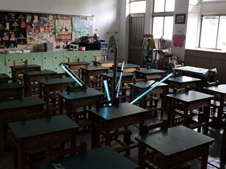 崇文國小紫外線消毒燈。