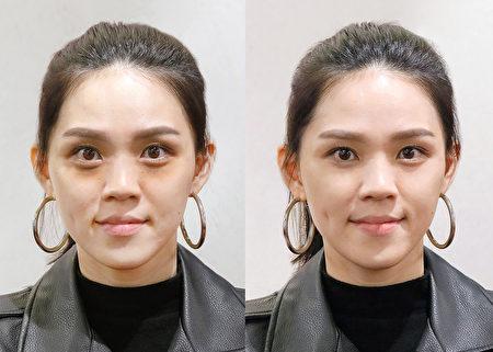 先使用機能款穩定全臉膚況,之後平衡調色提升氣色與明亮感。