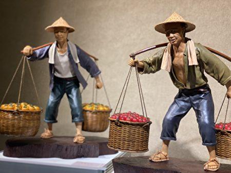 """以台湾早期""""丰收""""为专题,创作皮塑人物系列。"""
