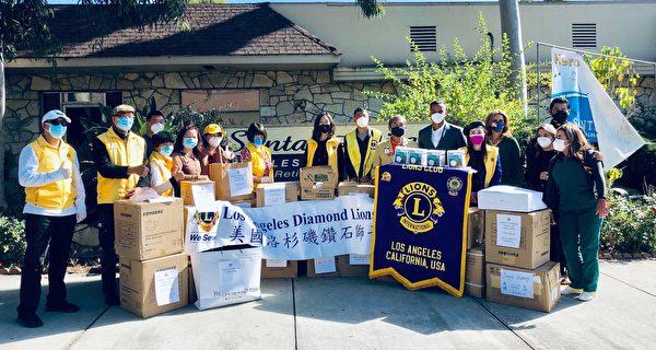 爱心行善 洛杉矶钻石狮子会捐防疫用品