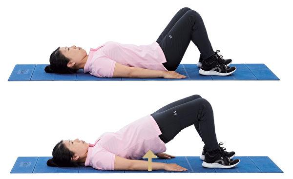 增強核心肌群的伸展運動5: 橋式訓練。(原水文化提供)