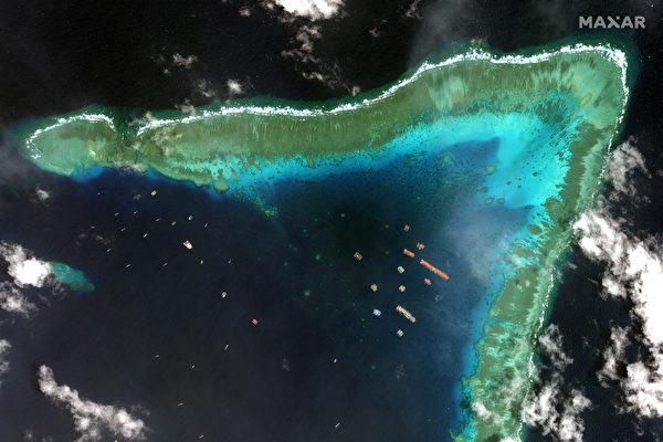 中共大量船隻持續集結牛軛礁 在南海蒐集數據