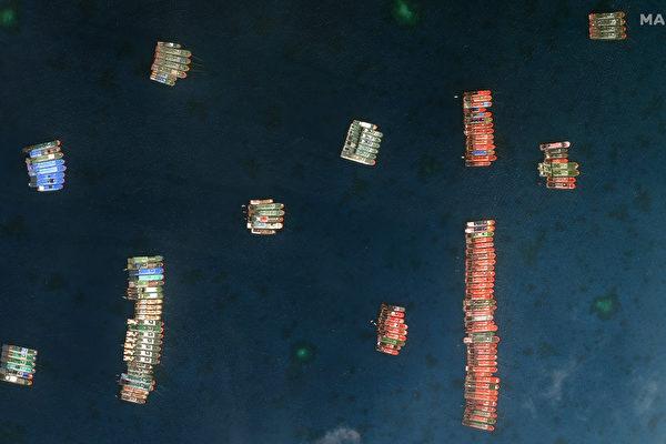 中共200船聚牛軛礁 占領前奏?菲加派軍艦
