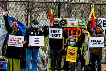 二十个组织的代表3月17日在华盛顿发起运动,呼吁拜登政府和美国人民起来抵制2022年北京冬奥会。