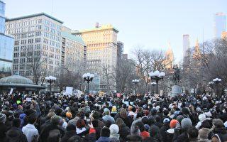 聯合廣場約500名民眾追思喬州按摩院槍案死者
