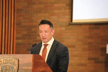 图为纽约市警局亚裔仇恨犯罪工作组负责人卢晓士(Hsiao Stewart Loo)副督察即将暂离警队。