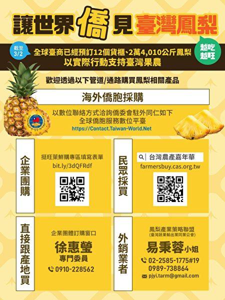 僑委會向海外僑界發起「購買臺灣鳳梨支持臺灣農民活動」