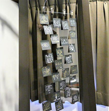邱郁净在台中文学馆的个人摄影展中,展出她为各个摄影作品手绘的构图草稿。