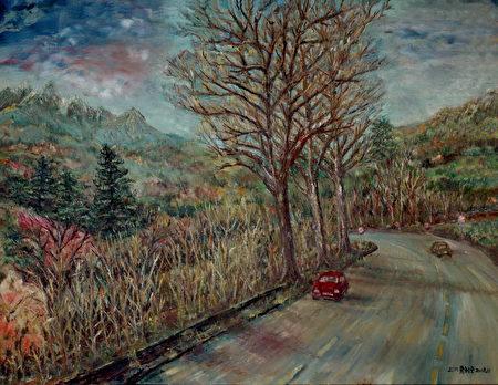 作品「洛磯山脈三兄弟」畫面中生氣勃勃的自然色調,鼓勵自己重生的勇氣。