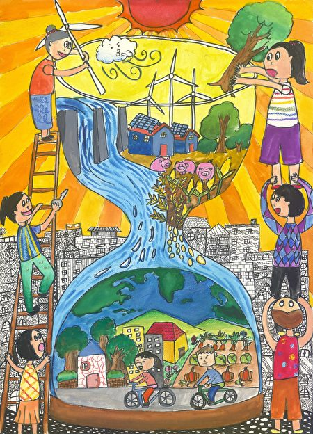高年级组获奖者冯宥琦,主题为永动的地球。