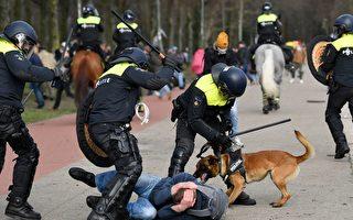 【疫情3.14】荷蘭抗議封鎖  警方使用水砲警犬