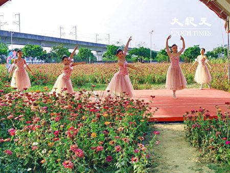 新市花田音乐会进行芭蕾舞蹈演出。
