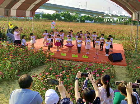 新市花田音乐会有新市幼儿园幼儿律动表演。