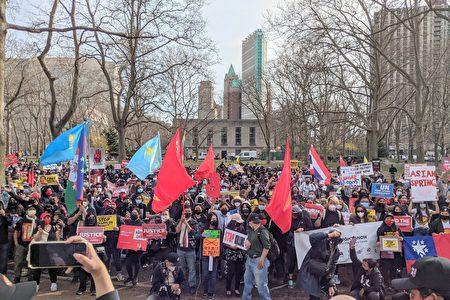 """2021年3月27日,""""奶茶聯盟""""游行至布碌崙卡德曼廣場公園,繼續為遭緬甸軍政府打壓與遭中共迫害的亞洲人民聲援。"""