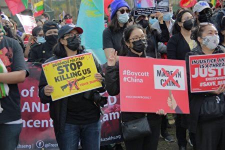 """參與游行民眾在布碌崙卡德曼廣場公園,手舉""""停止殘殺我們""""標語。"""