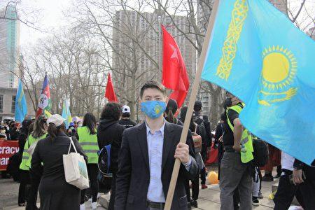 """2021年3月27日,""""自由哈薩克""""(FreeKazakhs)主席Gani Stambek出席NY4HK主辦的""""奶茶聯盟""""活動。"""