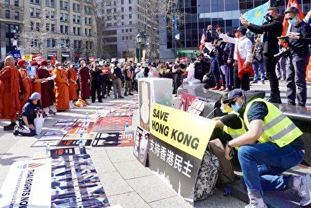百家樂-奶茶聯盟抗威權紐歐博百家樂約游行關注亞洲人權-財神娛樂