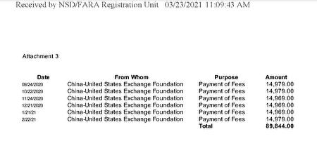 今年3月23日的FARA文件顯示,中美交流基金會每月支付公關公司Wilson Global ,979美元。