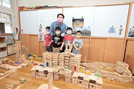林右昌和幼兒園小朋友歡度兒童節。