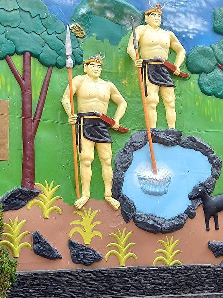 多纳部落的彩绘猎人传说图腾。