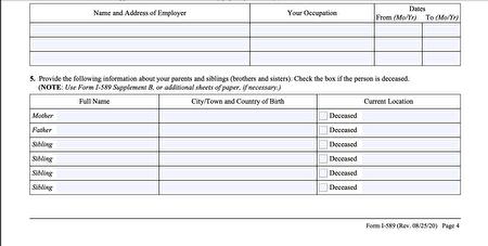 目前的I-589庇護申請表,在第四頁第五項,留出六行空白,這是填寫父母和兄弟姐妹的欄目。