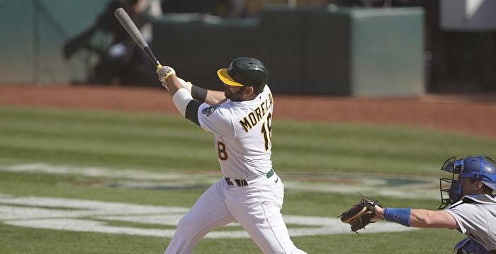 MLB莫蘭再見安打 運動家首勝入袋