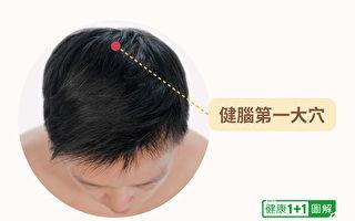 位於頭頂的百會穴,就是中醫防治失智症的關鍵穴位,也可以用於自我按摩。(健康1+1/大紀元)