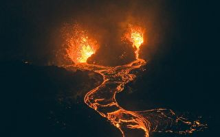 组图:无人机拍到冰岛火山喷发的梦幻景观