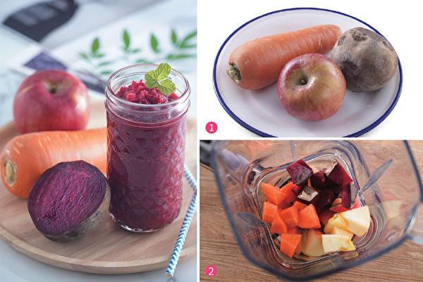 蘋果、甜菜根與紅蘿蔔為材料製作成的ABC果汁,除了瘦腰減重,還能提升免疫力、降低身體壞膽固醇。(采實文化提供)