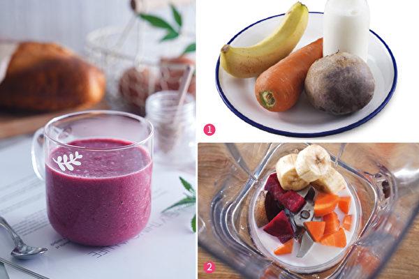 如果吃蘋果和高麗菜會脹氣的人,可以喝由香蕉、甜菜根和紅蘿蔔製成的BBC果汁。(采實文化提供)