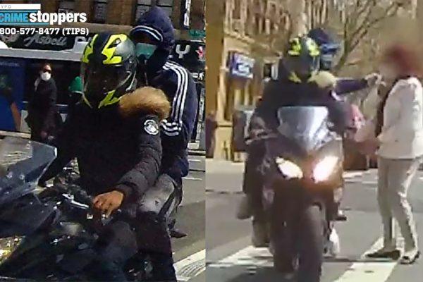 男子乘摩托車在曼哈頓斑馬線搶項鍊