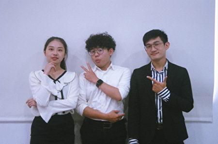 邀請醒吾科技大學畢業校友數位設計系李哲逸、角恆毅學長(右一)及理財經營管理系郭倢如學姊(左一)。
