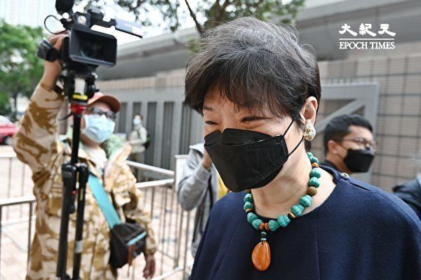 """4月16日,香港""""8.18集会""""与""""8.31集会""""案进行宣判程序。图为黎智英的代理律师余若薇到场。(宋碧龙/大纪元)"""