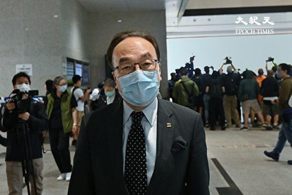 """4月16日,香港""""8.18集会""""与""""8.31集会""""案进行宣判程序。图为资深大律师梁家杰到场。(宋碧龙/大纪元)"""