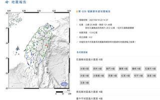 花蓮地震3分鐘連2起 最大規模6.2
