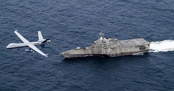 4月21日,美軍MQ-9無人機與濱海戰鬥艦科羅納多號(LCS 4)在太平洋演練。中共海軍還沒有適應低端航母的作戰,美軍已經著眼於未來海戰。(美國海軍)