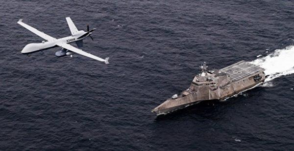 2021年4月21日,美军的MQ-9无人机和独立级滨海战斗舰科罗纳多号(LCS 4)联合演练。(美国海军)