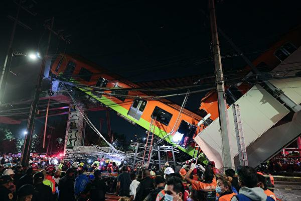 墨西哥地铁天桥崩塌 列车坠地 23死70伤