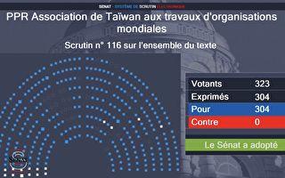 法参院一致通过  挺台湾参与国际
