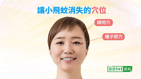 睛明穴、瞳子髎穴是對於保養飛蚊症非常好的穴位。(健康1+1/大紀元)